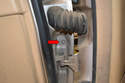 The screw for the rear door is located on the leading edge.