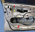 You will need to get the side of the window regulator closes to the lock out of the way to get the lock out of the door.