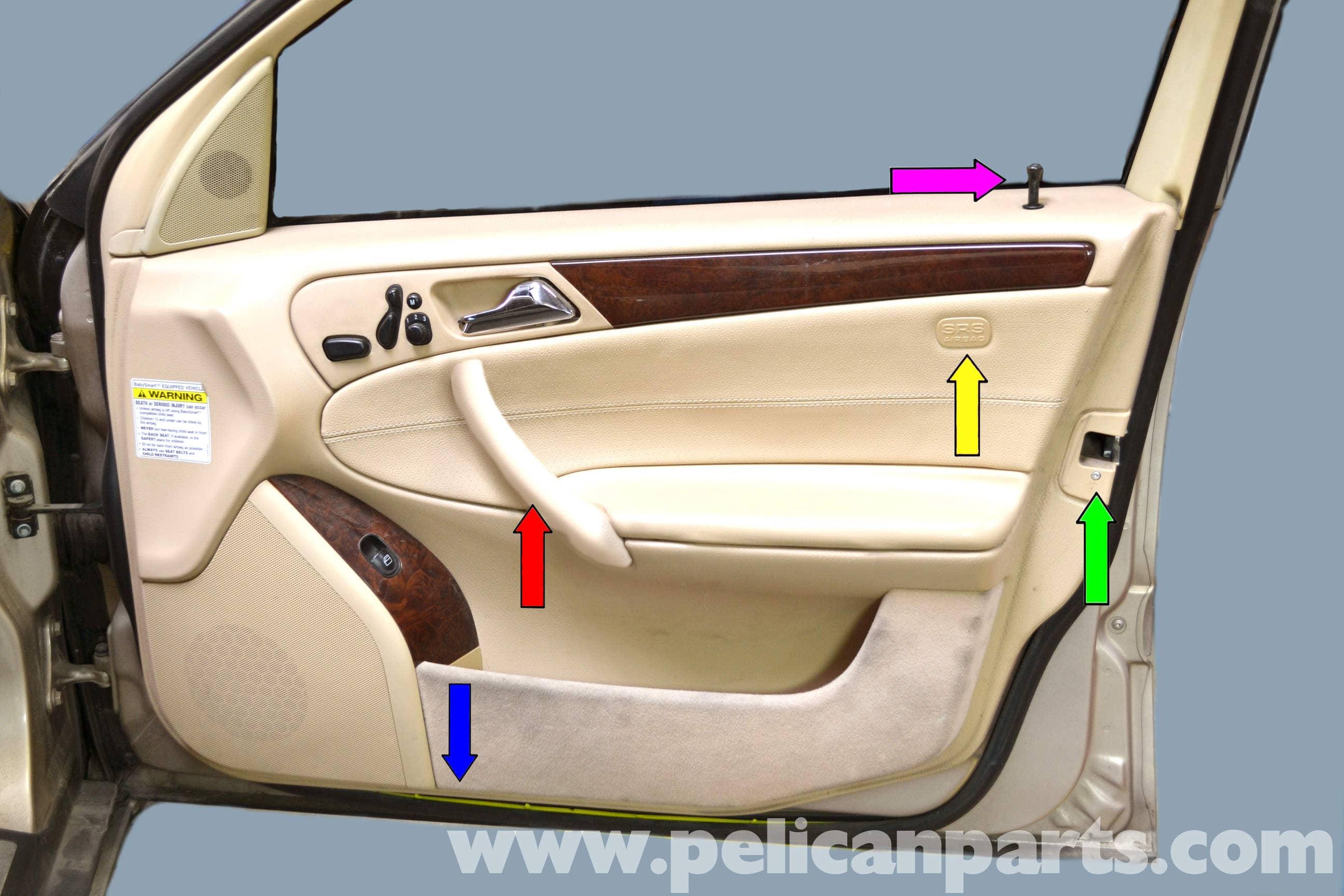 mercedes-benz w203 front door panel removal - (2001-2007) c230