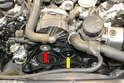 There are two idler pulleys on the C350, one smooth (yellow arrow) and one ridged (red arrow).
