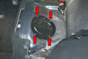 With the rear seat removed you can see the access cover for the fuel filter.