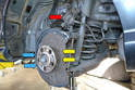 You will need to remove the brake caliper, pads, rotor, sensors and parking brake to get access to the two 5mm Allen bolts (yellow arrows) and the two 13mm bolts (blue arrows) that hold the dust shield on.