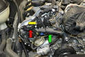 On the right cylinder bank you can see the intake sensor (yellow arrow) and the exhaust (red arrow).