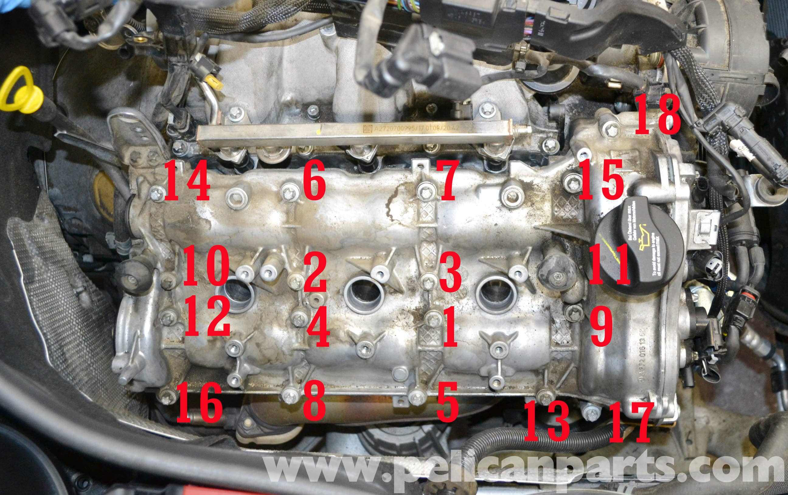 pic12 mercedes benz w204 valve cover removal (2008 2014) c250, c300  at crackthecode.co