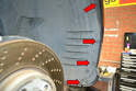 The front fender liners are made up of two sections, a forward and rear liner.