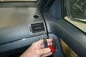 Side Vents - Make sure both tools are properly seated and then pull back and up (red arrow).