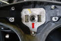 Use white out, a marker or nail polish to mark the relationship between the wheel and the steering shaft (red arrow).