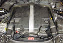 This picture illustrates the engine compartment with the engine covers still in place.