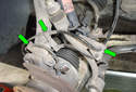 Front Wheel Speed Sensor Remove the rubber grommets (green arrows) that hold the wiring harness in the brackets.