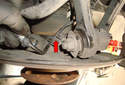 Rear Wheel Speed Sensor Twist the wiring harness to remove it from the mounting bracket (red arrow).