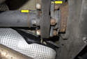 The yellow arrows point to marks I made on the driveshaft and differential flange.