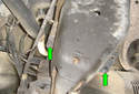 This picture illustrates looking up under the right rear lower control arm.