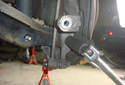 This picture illustrates the rear view of the lower control arm spindle mount.