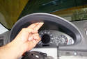 This picture illustrates the instrument cluster with the steering wheel removed.