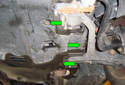 ThisPicture illustrates under the engine compartment on the left side of the vehicle by the left side lower control arm.