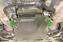 ThisPicture illustrates under the middle of the car looking towards the back of the rear splash shield.