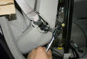 Remove the T40 Torx fastener for the seat belt attachment to the seat.