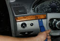 This picture illustrates the left side of the dashboard to the left of the steering column.