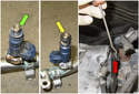 Once the fuel rail is removed, inspect the fuel injectors.