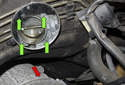 Remove the four T45 throttle-housing fasteners (green arrows).