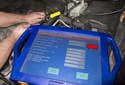 Testing with sensor removed: Remove the E8 crankshaft positon sensor fastener.