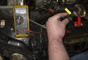 Testing with sensor removed: This photo shows the sensor removed and unplugged from the vehicle.