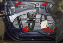 Window regulator: With the window motor electrical connector already disconnected, next you have to remove the rivets.