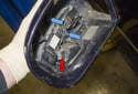 Mirror lights: Remove the Phillips head screws (blue arrows).