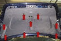 Working at the carpet trim panel, remove the plastic rivets (red arrows).