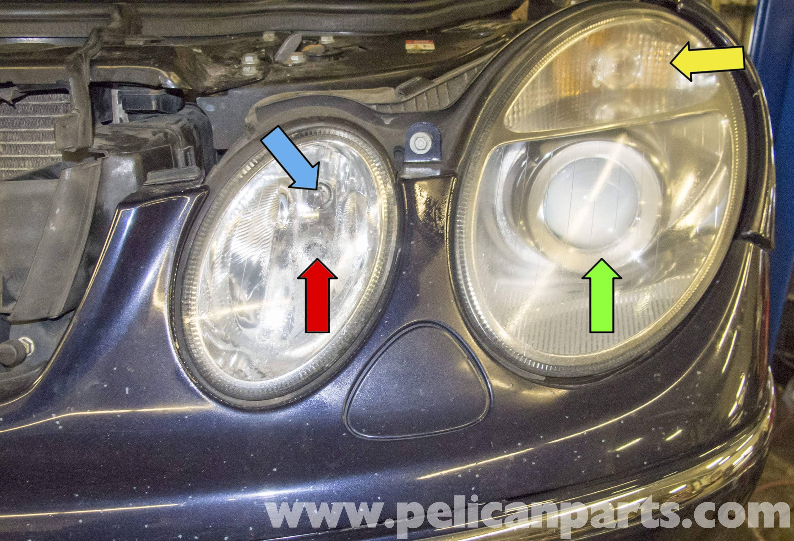 Mercedes benz w211 headlight replacement 2003 2009 e320 for Mercedes benz headlight bulb