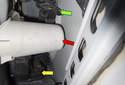 Looking inside the door toward the latch, you can see the latch (yellow arrow), door support (red arrow) and the door handle release bracket (green arrow).
