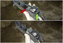 To inspect the release bracket, check if the plastic end of the lever (green arrow) moves the metal end (red arrow) when pressed or pulled.