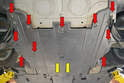 The front suspension steering tray is held in place by a series of T30 Torx screws (red arrows), remove these screws and lower the tray pulling it forward out from where it joins the center tunnel tray at the rear (yellow arrows).