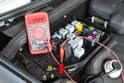 With the ignition in the ON position check for battery voltage at terminal 86 (red arrow).