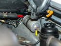 There is a fuel line into the pump (red arrow) that has 17mm and 19mm fittings and the fittings on the line out to the engine are both 19mm (yellow arrow).