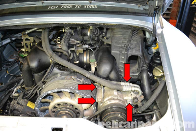 pelican technical article porsche 993 a c belt replacement loosen the four bolts holding the compressor on the varioram engine and the five on the