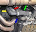 Engine Hoses 996/997 Thermostat hose (blue arrow) To splitter hose (gr