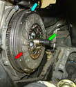 The clutch alignment tool (green arrow) is used to align the clutch disc (red arrow) with the pilot bearing, pressure plate, and flywheel (blue arrow).