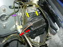 This photo shows what needs to be disconnected in order to remove the ABS control unit.