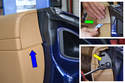 To remove the end trim (blue arrow) insert your trim removal tool under the trim piece and gently pull away (insert, green arrow).