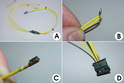 This photo shows the process of creating the small wire harness that connects the on-board computer switch stalk to the gauge cluster.