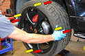 Beginning on the front of the vehicle you will want to check play in the wheel bearing.