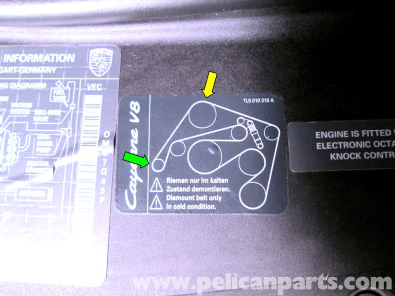 porsche cayenne serpentine belt replacement 2003 2008 pelican here is the diagram sticker located on the front of the engine compartment
