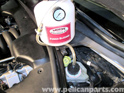 Shown here is the Motive Products Power Bleeder, attached to the brake fluid reservoir.