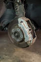 Shown here is the front brake caliper and disk.