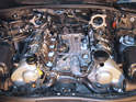 Shown here is the engine with the intake manifold removed.