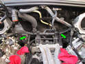 Shown here is the position of both camshaft position sensors (green arrows) towards the rear of the engine.