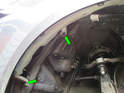 Here are the two 10mm bolts (green arrows) that hold the reservoir to the chassis.