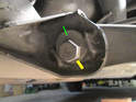 Locate the 21mm nut (yellow arrow) on the inner rear arm where it attaches to the subframe.