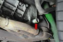 Use a flathead screwdriver and remove the hose clamp and hose from where it joins the motor at the bottom of the oil cooler (red arrow).